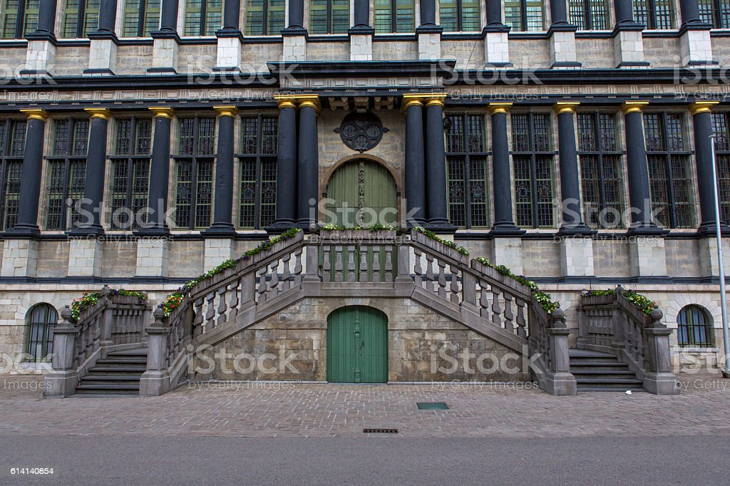 Historical town hall entrance at ghent belgium stock photo