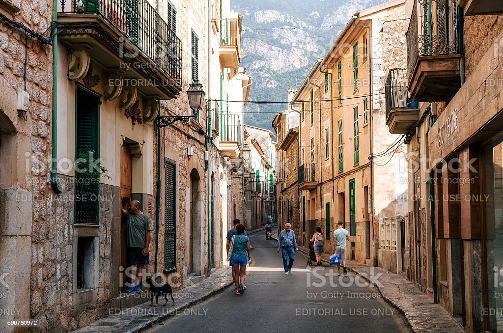 Historical town part of Soller with traditional house stock photo