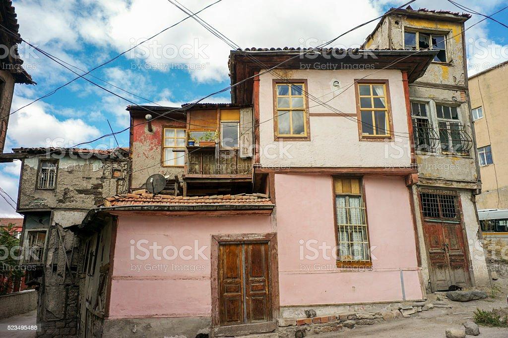 historical traditional buildings at  jewish quarter of ankara turkey stock photo