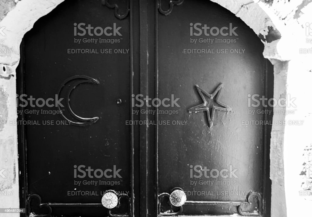 historical traditional stone house  entrance door symbols in mardin turkey stock photo