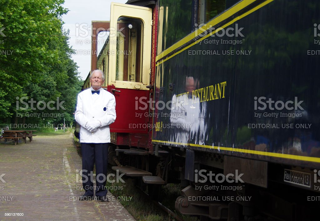 Historical train ready for departure stock photo