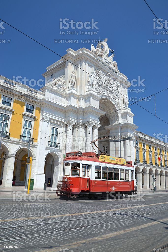 Historical tram in Lisbon stock photo