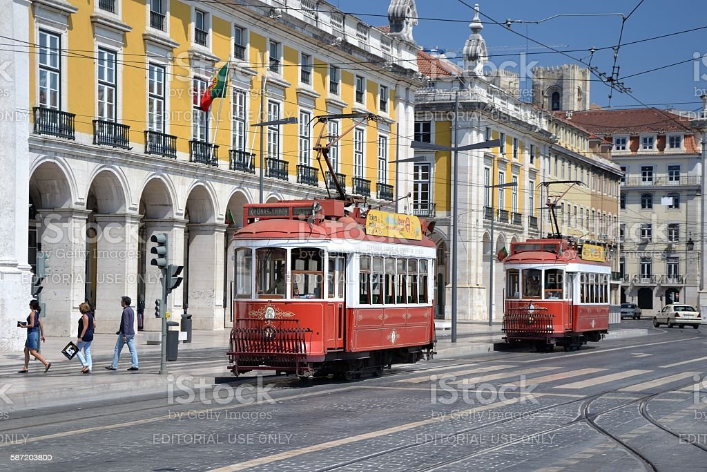 Historical trams in Lisbon stock photo