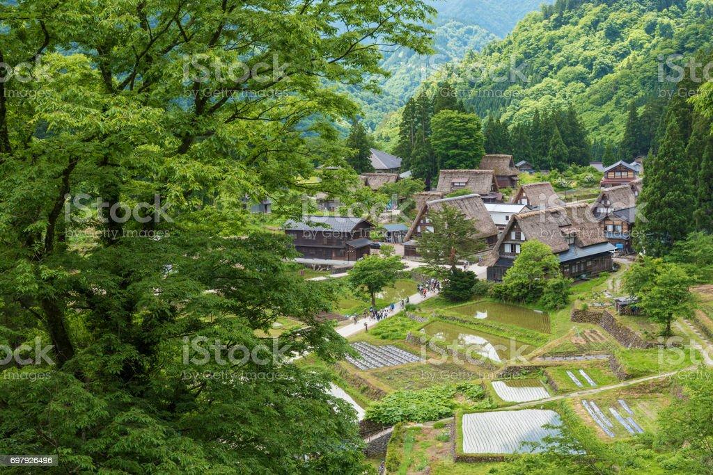Historical village Gokayama in Japan stock photo