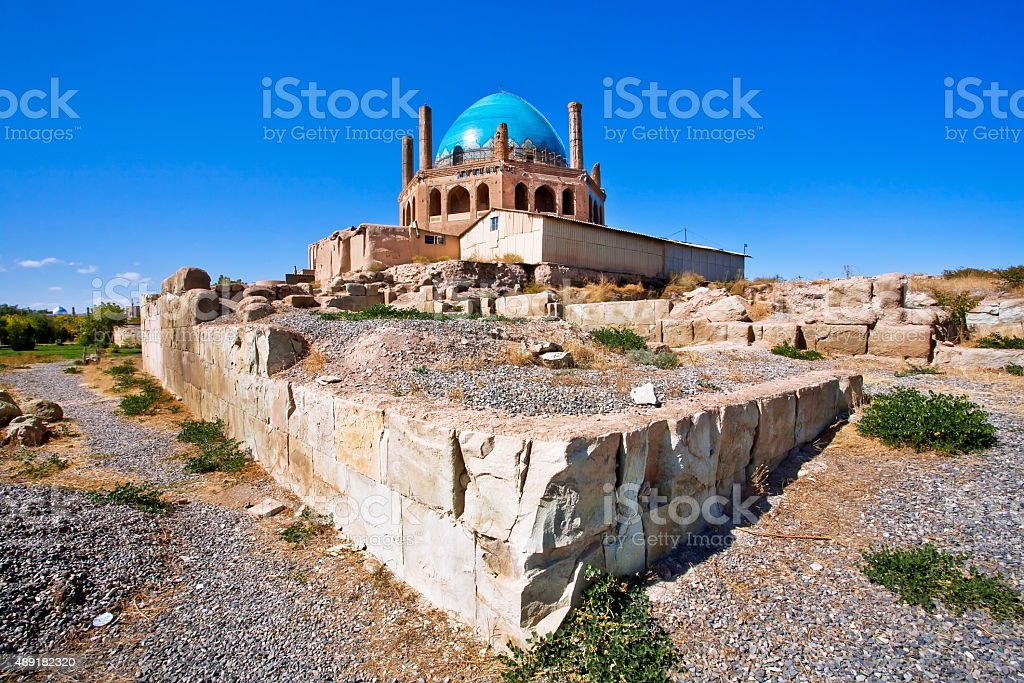 Historical walls of Dome of Soltaniyeh stock photo