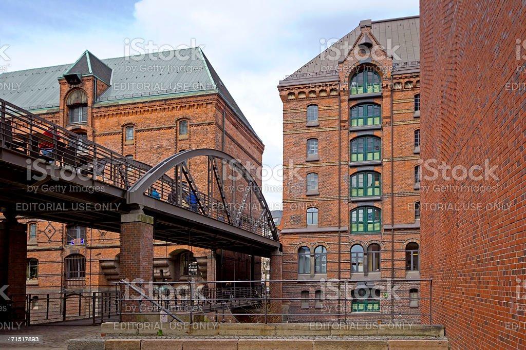 Historical warehouse district Speicherstadt, Hamburg stock photo