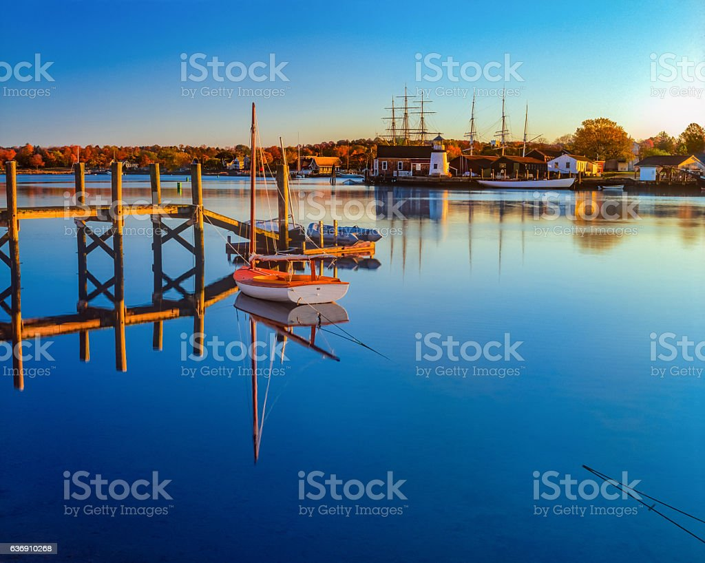 Historical whaling village Mystic Seaport Mystic CT(P) stock photo