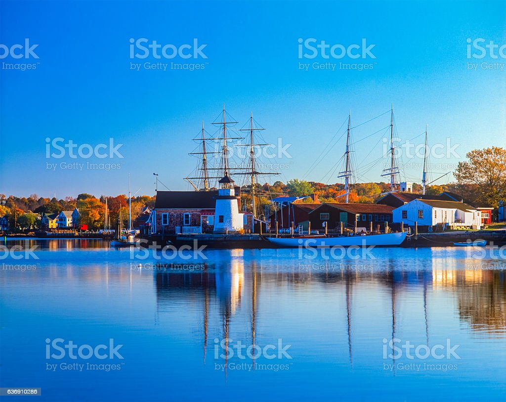 Historical whaling village Mystic Seaport Mystic CT stock photo