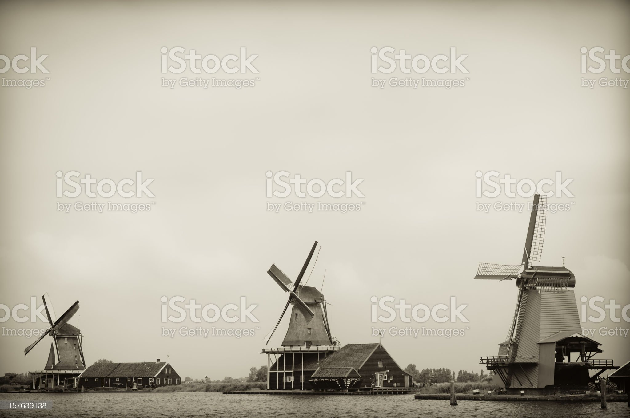 Historical windmills in the Netherlands, Zaanse Schans, vintage look royalty-free stock photo