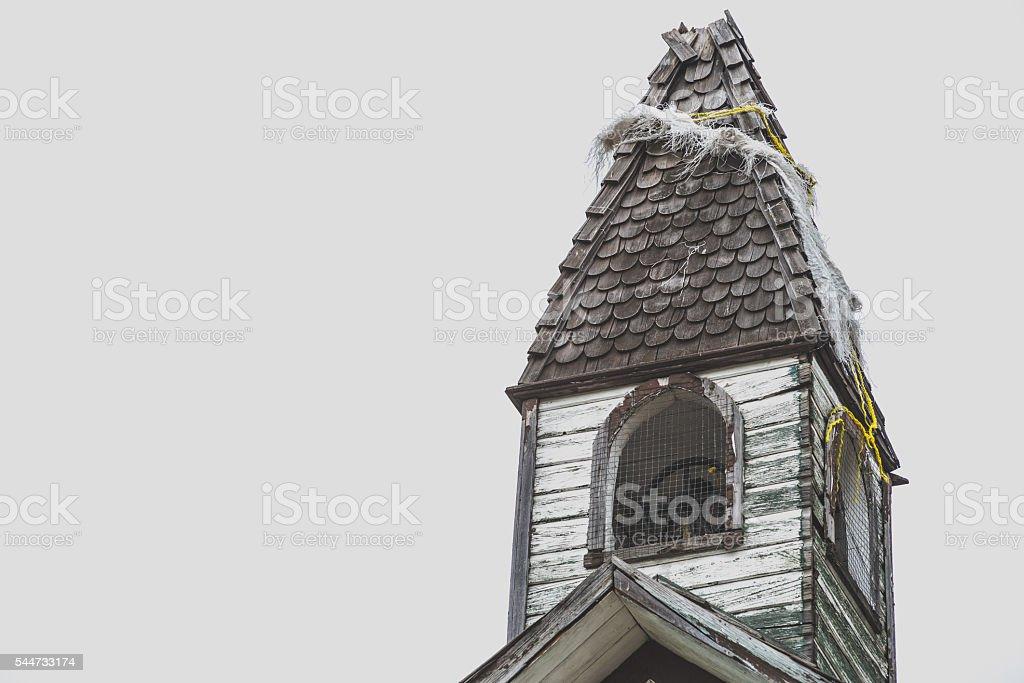 historical wooden church steeple vintage stock photo