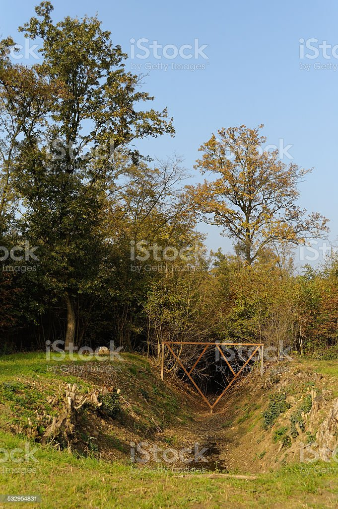 Historical WW2 tank ditch stock photo
