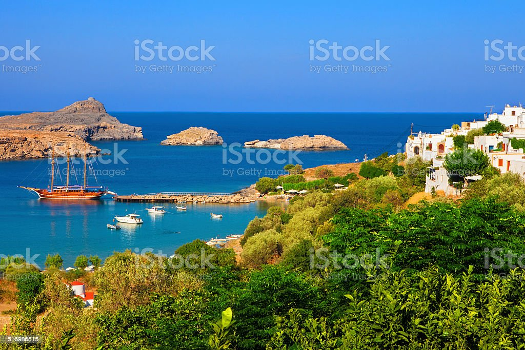 Historical yacht in Lindos bay on Rodos island stock photo