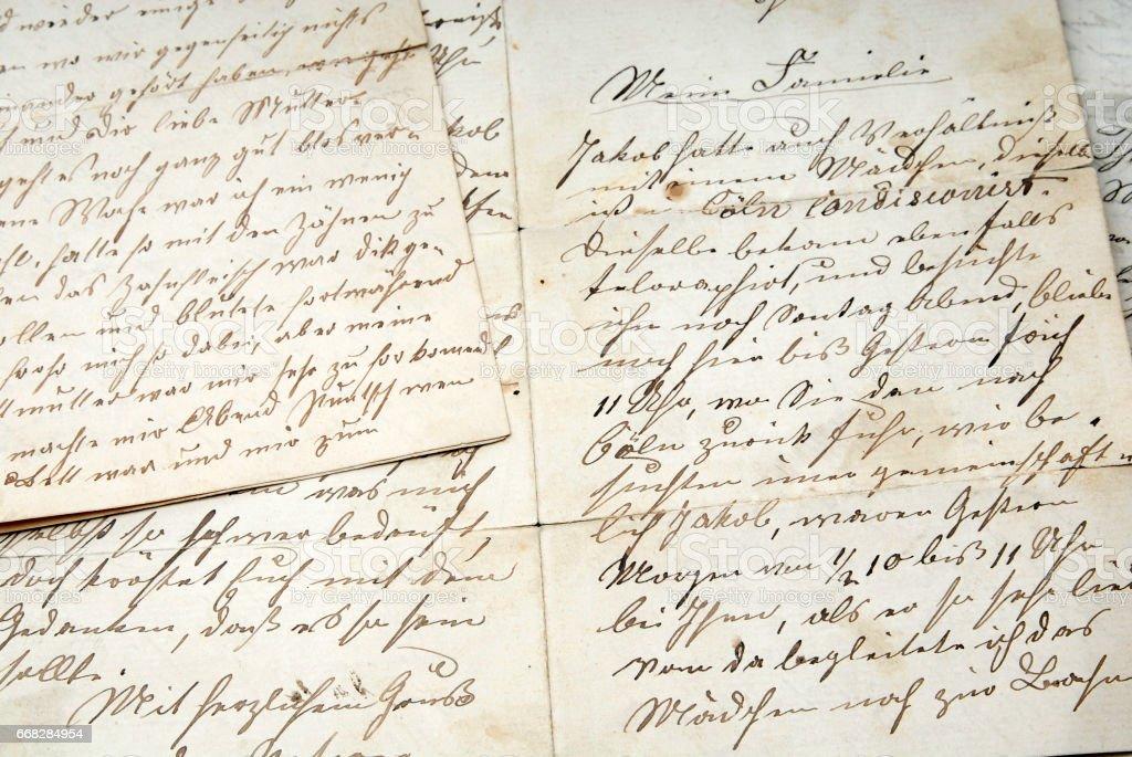 Historischer Brief stock photo