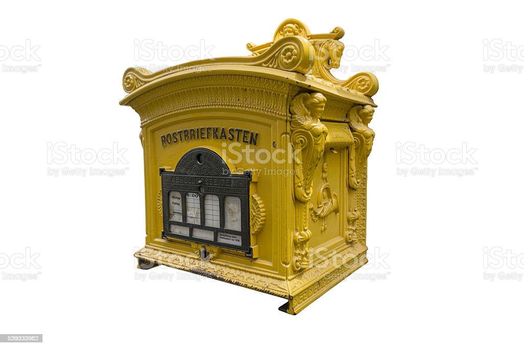 Historischer Postbriefkasten, freigestellt vor weißem Hintergrund stock photo