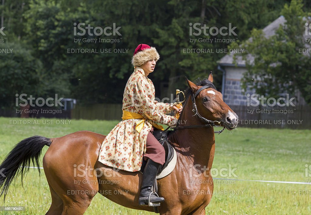 History fan dressed as 17th century Polish cavalryman stock photo