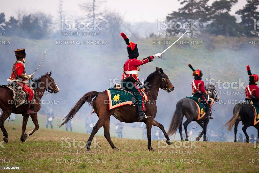 History fan in military costume, Austerlitz stock photo