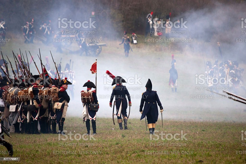 History fan in military costume, Austerlitz stock photo
