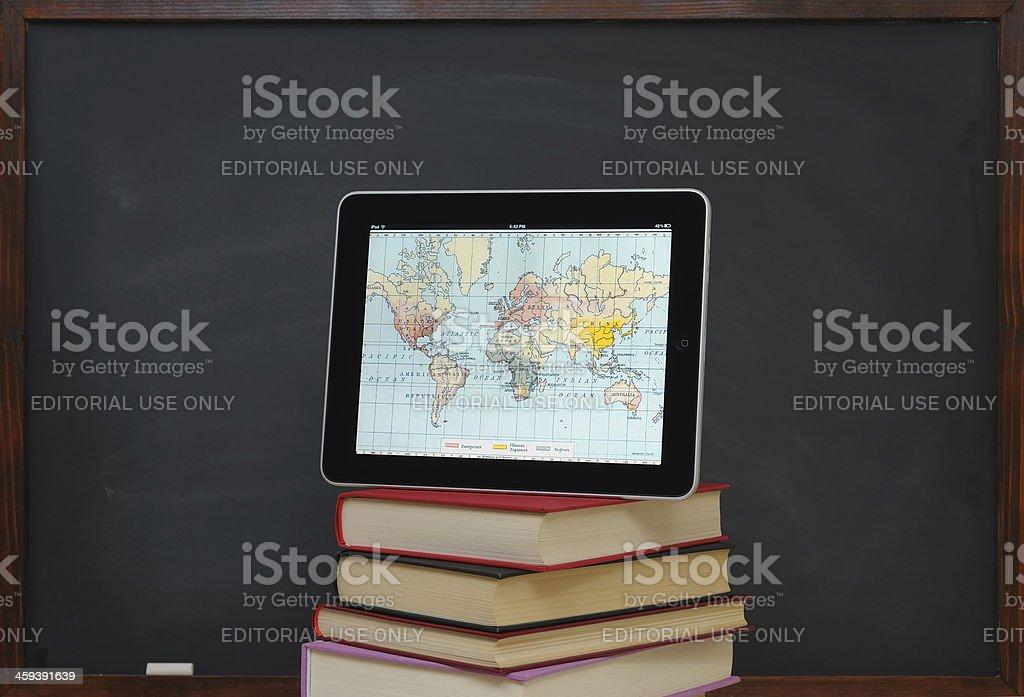 History maps on iPad stock photo