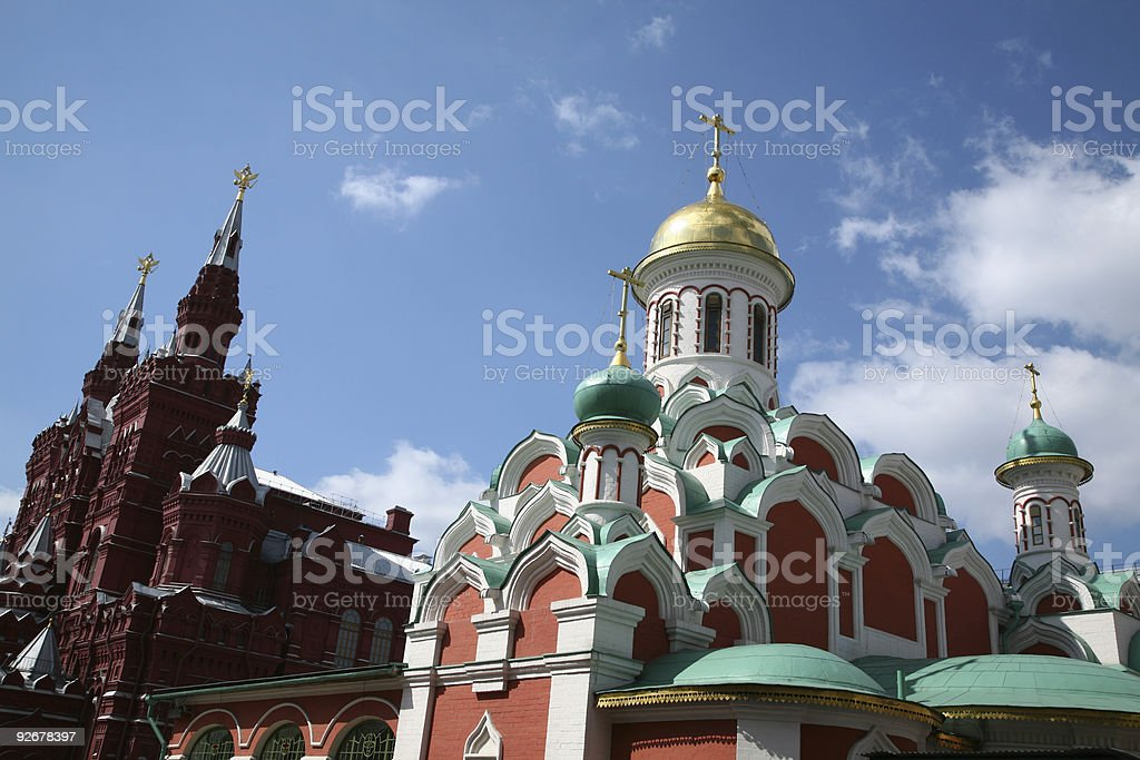 History museum and orthodox church in Moscow, Russian federation royalty-free stock photo