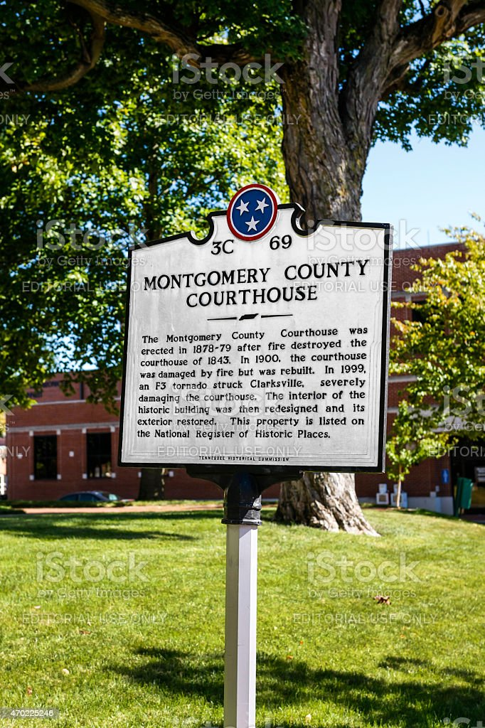 History Plaque in Clarksville TN stock photo