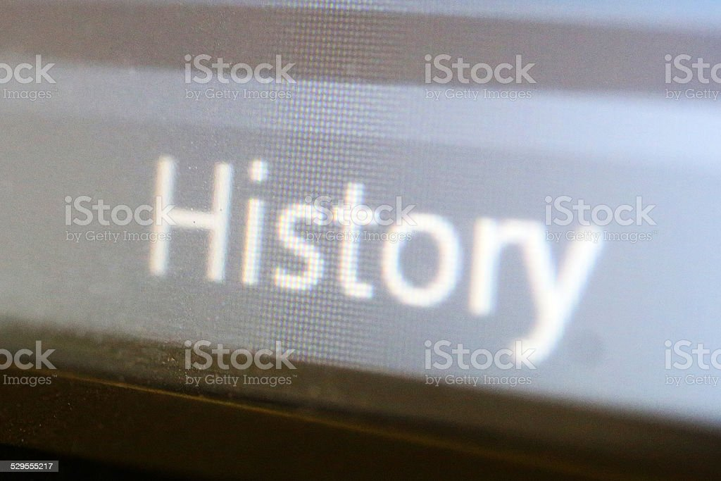 History text on LCD screen stock photo