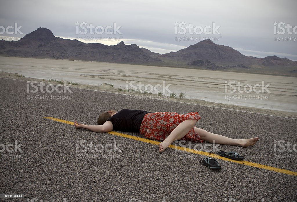 Hit and Run Auto Pedestrian Accident at Dusk stock photo