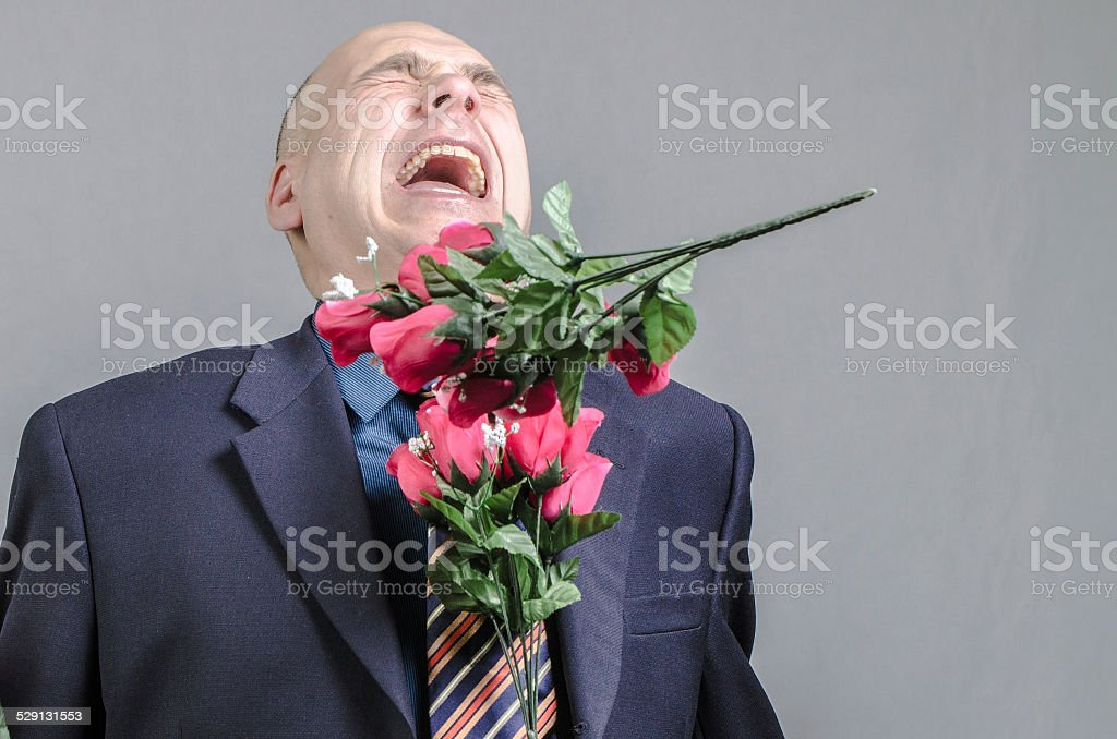 Hit by roses stock photo