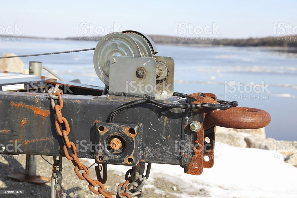 Hitch on a trailer with winch attached. stock photo