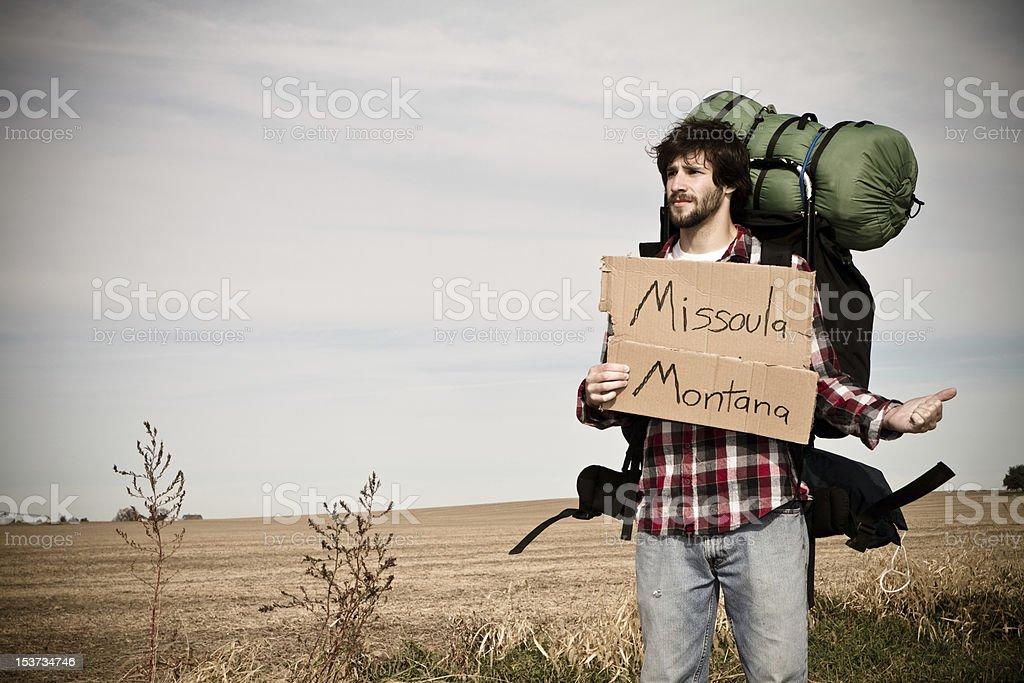 Hitchhiker heading towards Montana stock photo
