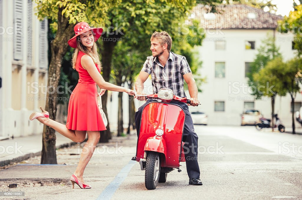 Hitchhiking for a Scooter Ride stock photo