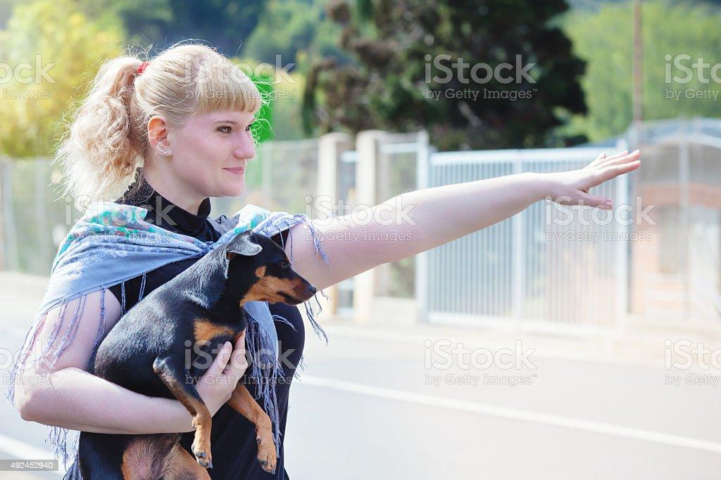 Hitchhiking stock photo
