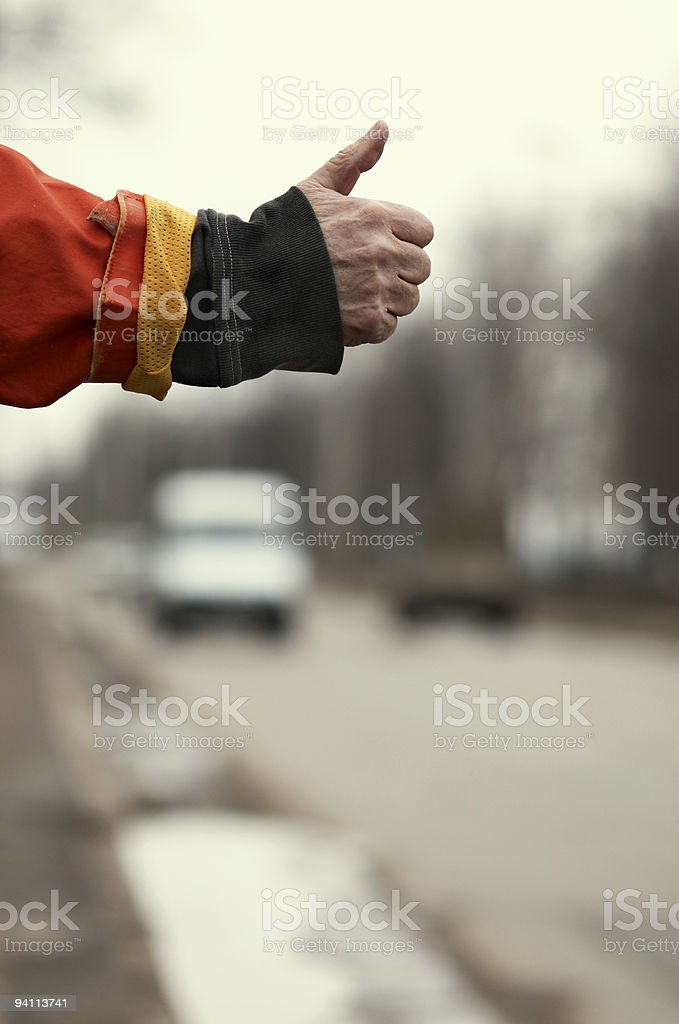 Hitch-hiking royalty-free stock photo