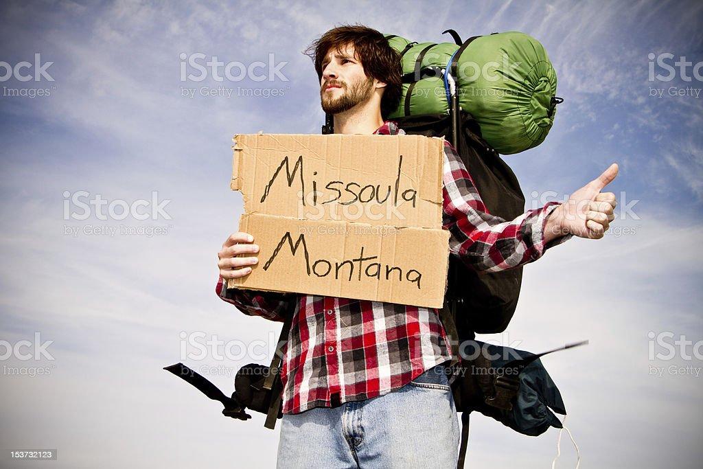 Hitchhiking to Missoula, Montana stock photo