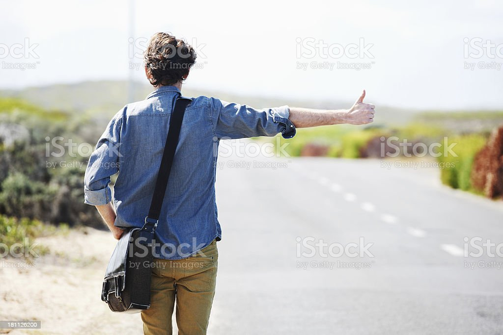 Hitching a ride stock photo