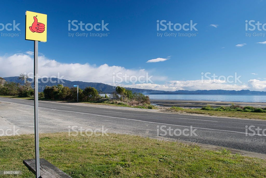 Hitching Sign Post on Pohara, Golden Bay stock photo