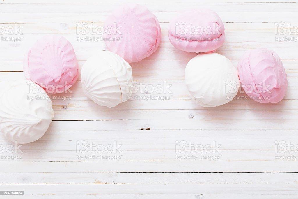 hite marshmallow - zephyr stock photo