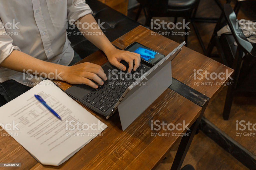 Hi-tech and internet era makes everything become more convenient stock photo