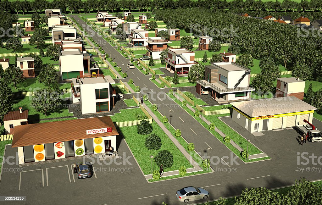 Hi-tech  cottage village stock photo