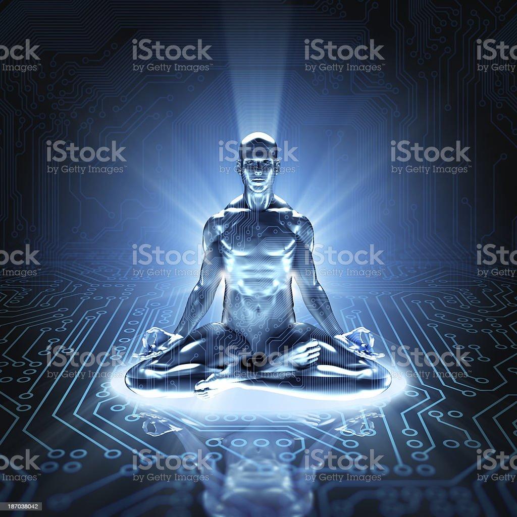 Hi-tech cyber meditation on circuit board royalty-free stock photo