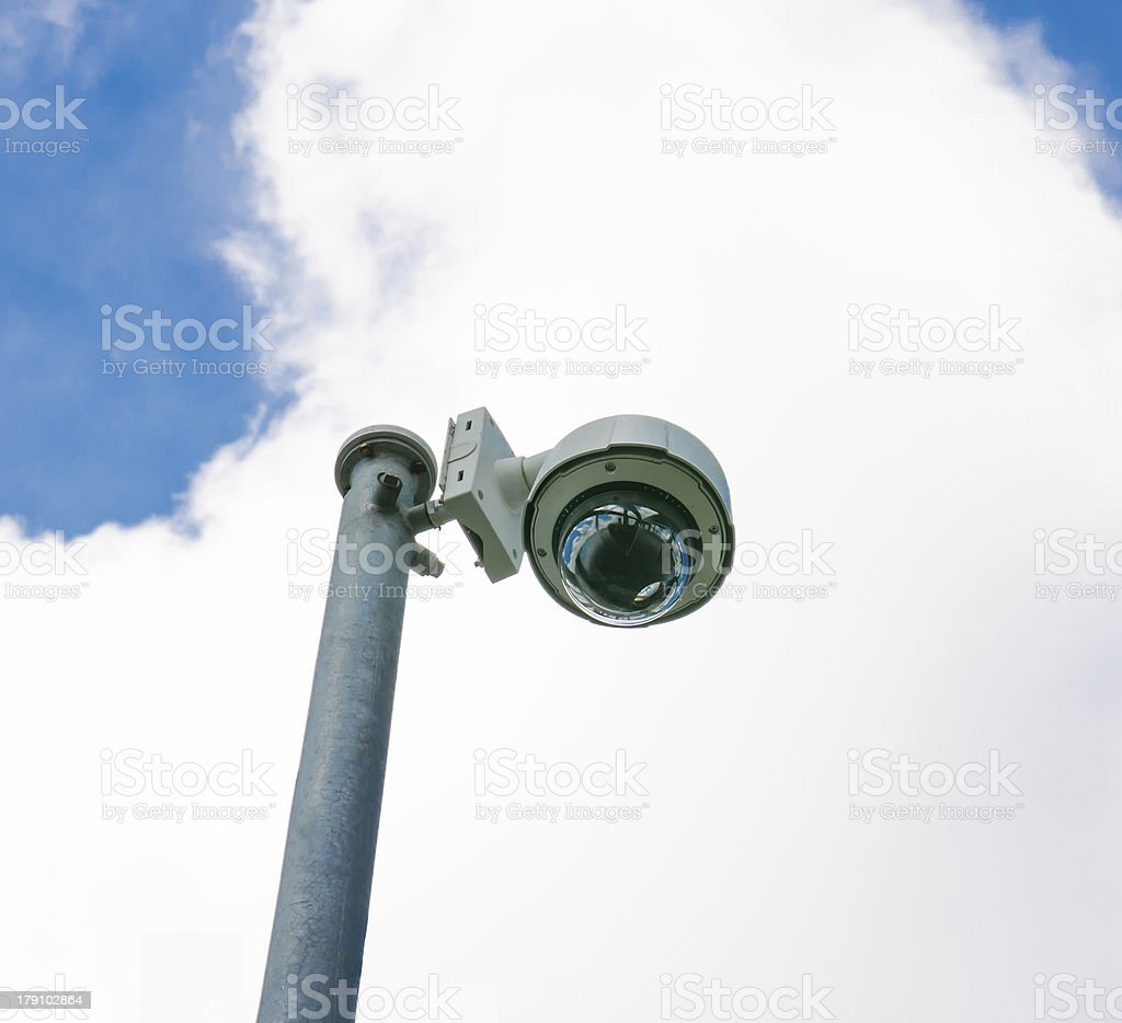 Hi-tech dome type camera and a blue sky royalty-free stock photo