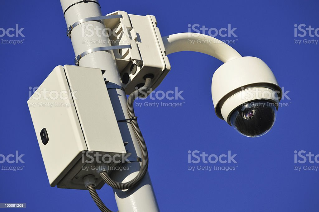 Hi-tech dome type camera over a blue sky royalty-free stock photo