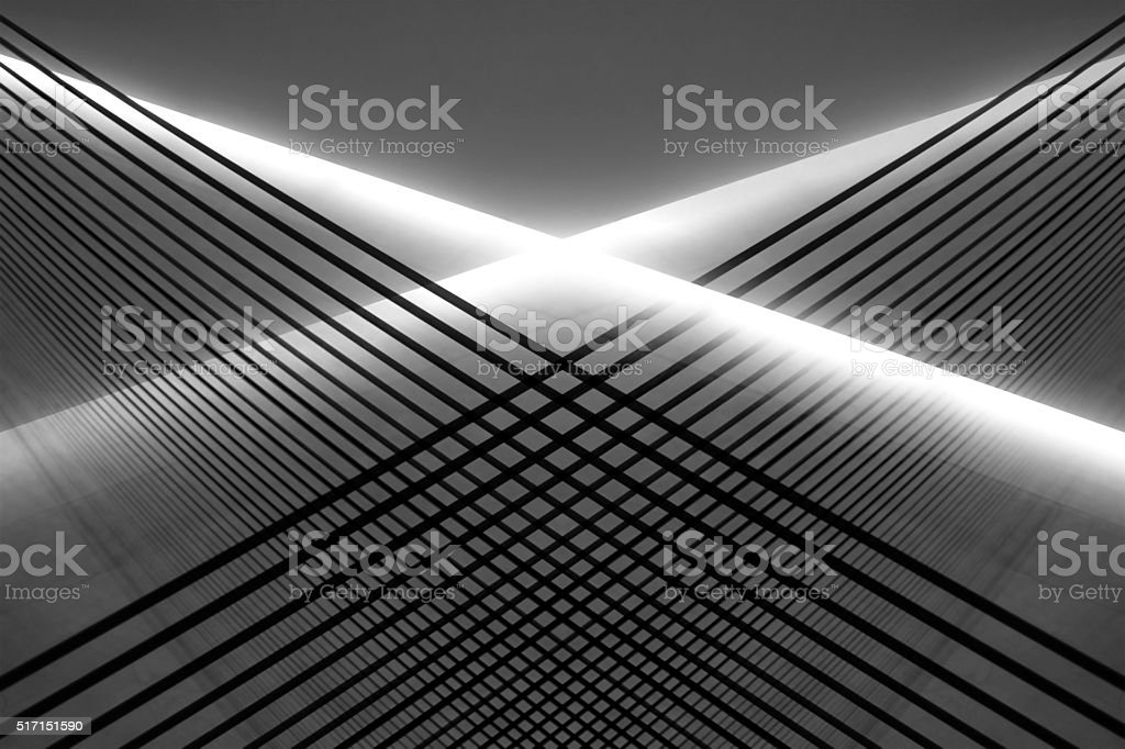 Hi-tech illustration of latticed structures performing diffusion of light flow stock photo