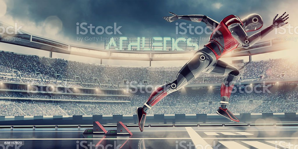 Hi-Tech Robot Athlete Competing in Sprint Race in Futuristic Stadium stock photo