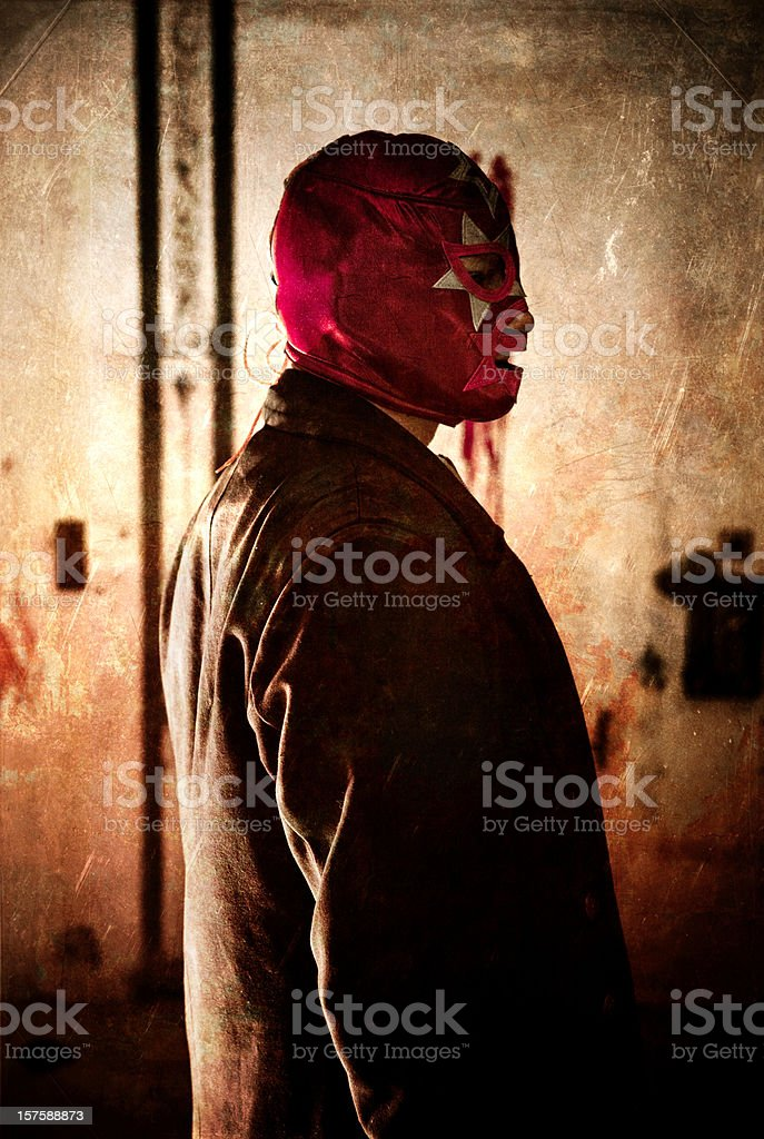 hit-man wearing a mexican lucha libre mask stock photo