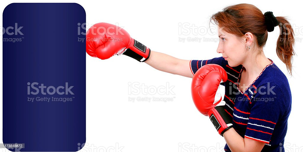 Hitting a punchball - Add Text stock photo