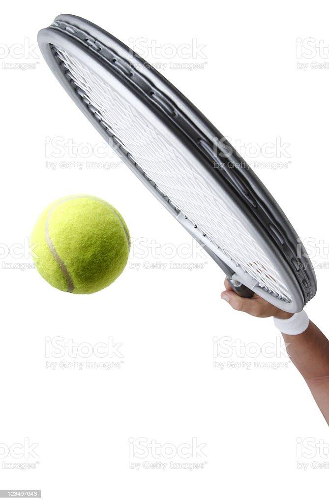 Hitting a Tennis Ball royalty-free stock photo
