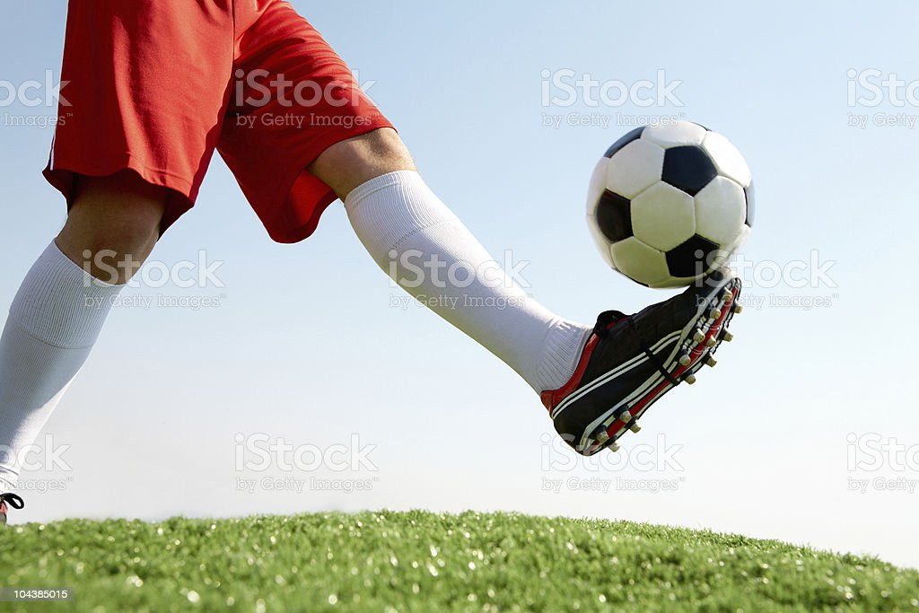 Hitting the ball royalty-free stock photo
