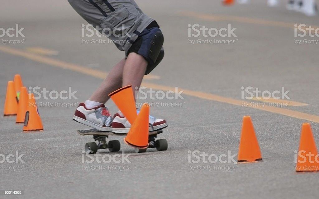 Hitting The Cones (Skateboard) stock photo