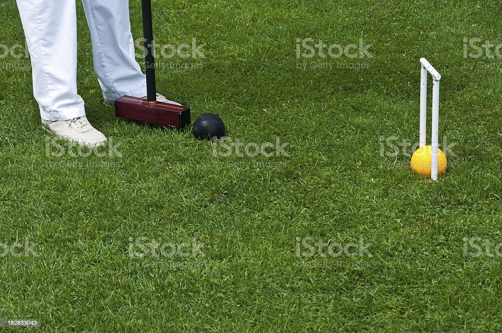Hitting the Croquet Ball stock photo