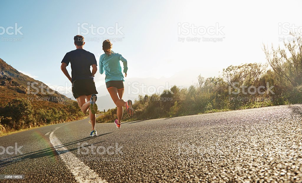 Hitting the road together stock photo